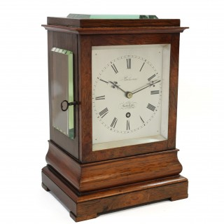 Rosewood library clock by Barwise, London