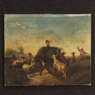 19th Century Italian Country Scene Painting