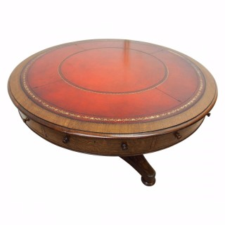William IV Oak and Leather-Topped Drum Table