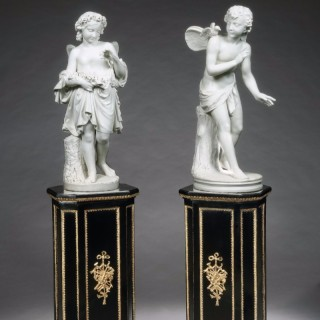 Matched Pair of Italian Carrara Marble Statues
