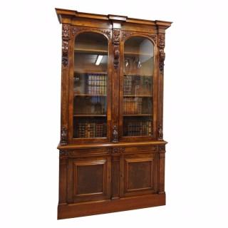 Victorian Burr Walnut Two Door Bookcase