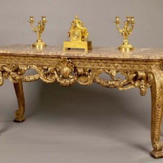 Carved Giltwood Console Table in the Manner of William Kent