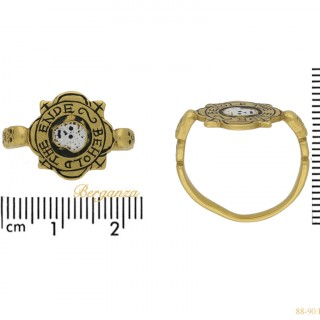 Tudor enameled 'BEHOLD THE ENDE' skull ring, English, circa 17th century AD.