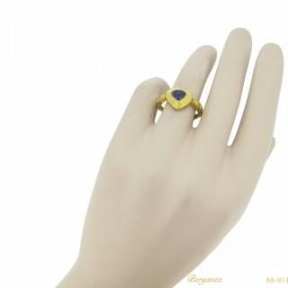Medieval sapphire ring, circa 14th century.