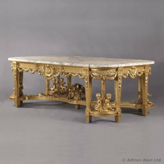 Louis XVI Style Giltwood Centre Table With A Marble Top