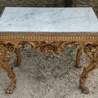 Unusual Free Standing Gilt Wood And Marble 18th Century George III Period Antique Hall Table / Centre Table / Console Table