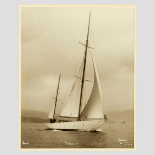 Yacht Mariella, early silver photographic print by Beken of Cowes.
