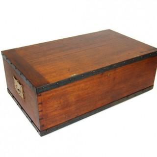 Brass bound teak campaign trunk