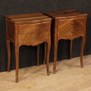 20th Century Pair Of French Inlaid Bedside Table