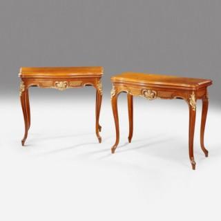 Walnut antique card tables
