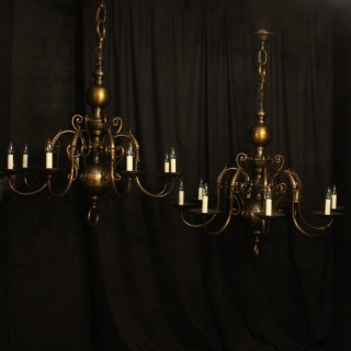 Large Flemish Pair Of 8 Arm Antique Chandeliers