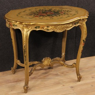20th Century Venetian Gilded And Painted Coffee Table