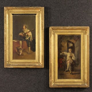 Pair Of French Interior Scene Painting Oil On Panel From 19th Century