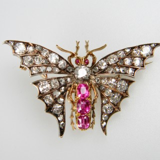 Beautiful Victorian Ruby and Diamond Butterfly
