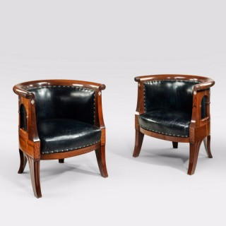 Danish Art nouveau mahogany and mother of pearl arm chairs