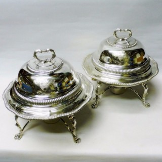 George III Silver Entrée Dishes on Warming Stands