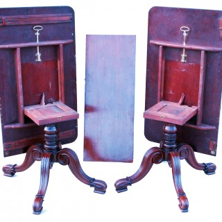 Antique Late Regency Mahogany Twin Pillar Dining Table