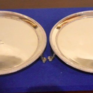 Pair of Small Silver Waiters Bearing the Crest of Baronet Coote