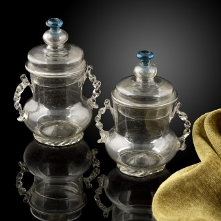 Rare pair of glass syllabub pots, with lids, late 17th century