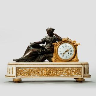 A Napoleon III gilt mantel clock by Deniere