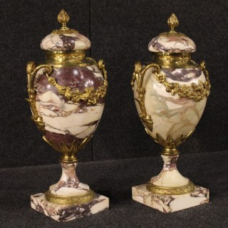 20th Century Pair Of French Potish In Marble