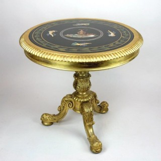 A very attractive antique late Regency gilt wood centre table attributed to Gillow of Lancaster and London, inset with an Italian pietra dura top