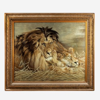 An outstanding exhibition quality Meiji period silk embroidery of a lion and lioness.