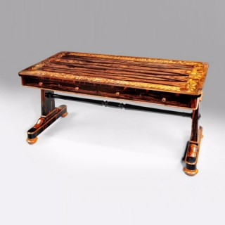 Marquetry regency library table