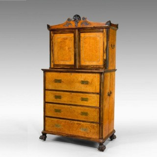 Anglo Chinese Amboyna and secretaire bookcase.