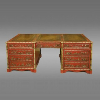 Magnificent large English library pedestal partners desk with chinoiserie decoration overall.