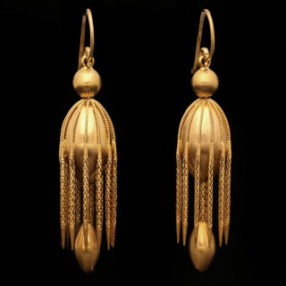 Victorian yellow gold fancy drop earrings, English, circa 1890.