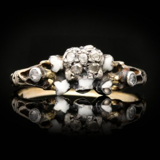 Enamelled diamond skull and cross bones ring, circa 1770.