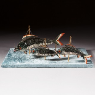 An unusual group of Chinese export enamel articulated carp