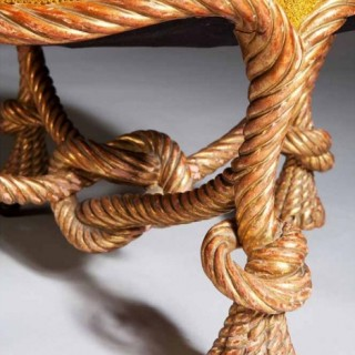 A Louis Phillipe Giltwood Rope  Stool attrib to A M E Fournier