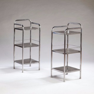 Pair Of Modernist Polished Iron Etagere Bedside Tables