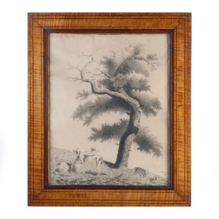 An Early 19th Century Drawing of A Tree with Dogs