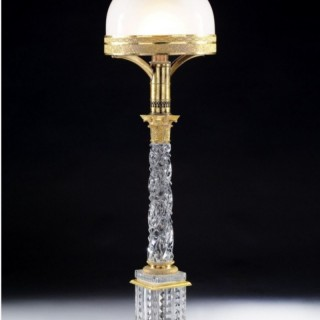A Fine 19th Century Baccarat Glass Table Lamp