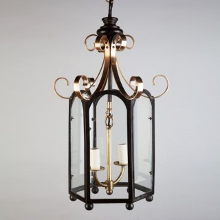 A William IV Brass and Bronze Chinoiserie Lantern