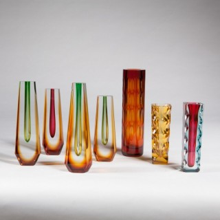 A Group of Seven Bohemian glass vases