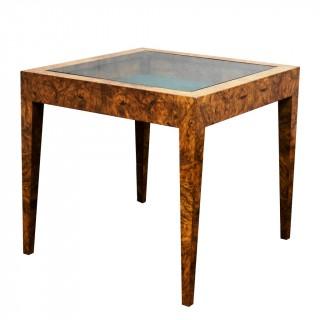 An Art Deco Figured Walnut Display Table