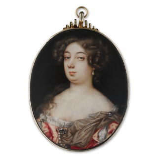 Portrait miniature of a Noblewoman, wearing a pink gown trimmed with diamonds and pearls, a brown silk sash pinned to her left shoulder, pearl earring, c.1675