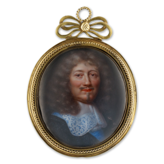 Portrait enamel of a French Nobleman, wearing black doublet, white lawn collar, the blue moiré sash and embroidered badge of the Royal French Order of the Saint-Esprit