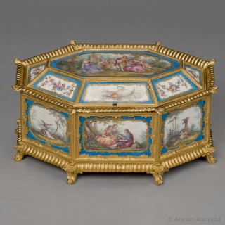 Louis XVI Style Sèvres-Style Porcelain Mounted Octagonal Table Box