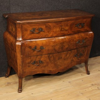 20th Century Italian Inlaid Dresser In Walnut, Burl And Maple