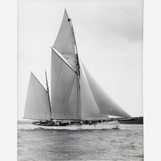 Early silver gelatin photographic print by Beken of Cowes - Ketch Cariad off Cowes