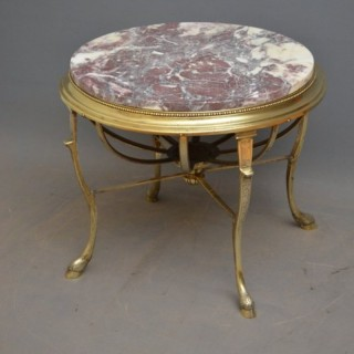 Unusual Brass and Marble Topped Coffee Table