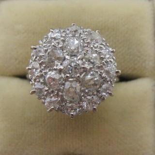 Art Deco Diamond Platinum Cluster Ring