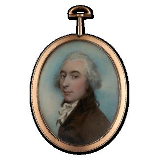 Portrait miniature of a Gentleman, wearing brown coat and white tied cravat, his hair powdered and worn en queue, c. 1795