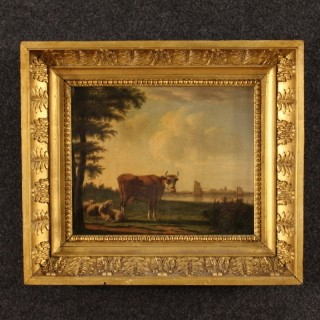 19th Century Flemish Painting Bucolic Landscape