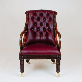 Antique William 1V Tulipwood Library Armchair